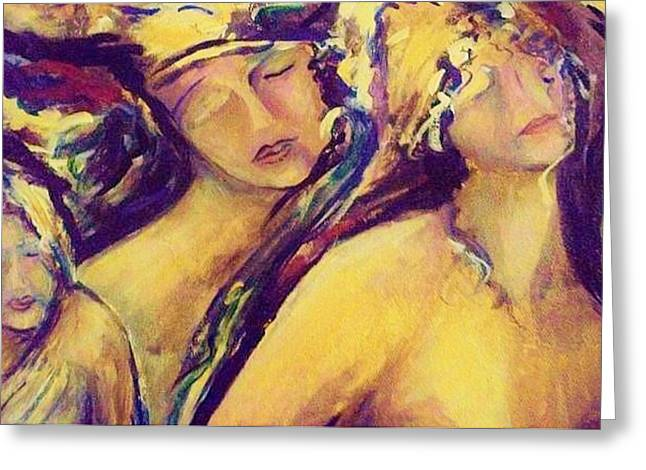 Femal Portrait Greeting Cards - With In Greeting Card by Dawn Fisher