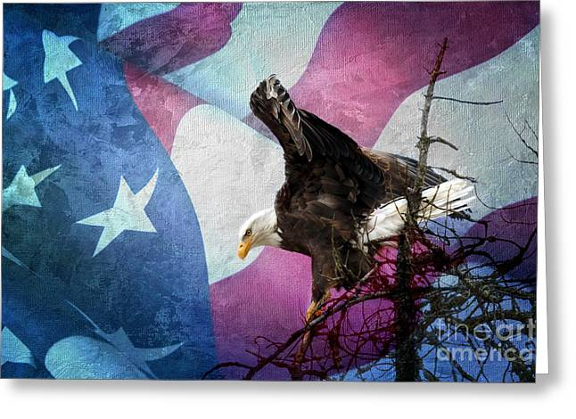 With Liberty Greeting Card by Beve Brown-Clark Photography