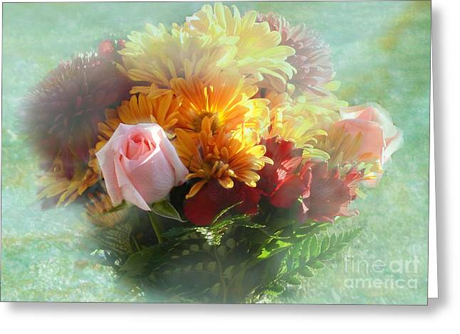 Special Occasion Digital Art Greeting Cards - With Love Flower Bouquet Greeting Card by Luther   Fine Art