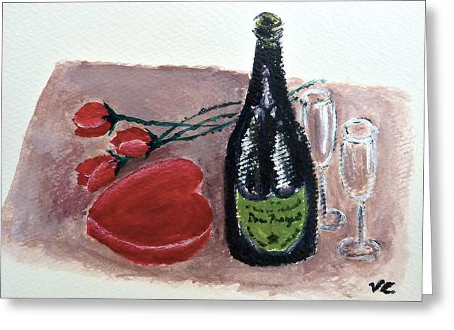 Champagne Glasses Greeting Cards - With Love Greeting Card by Victoria Lakes