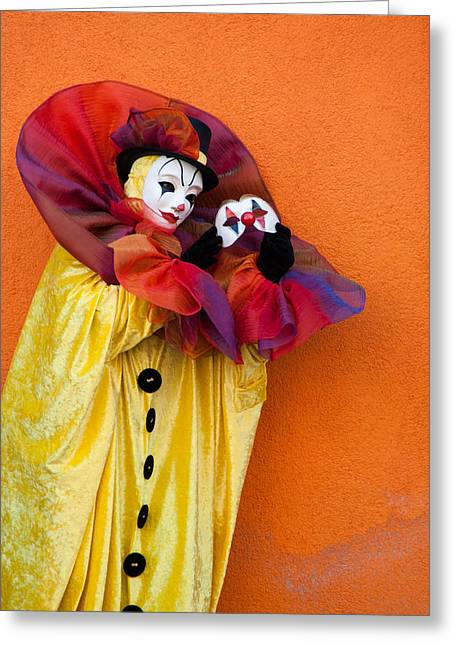 Portrait Of Evil Greeting Cards - with Mask alone Greeting Card by Zina Zinchik