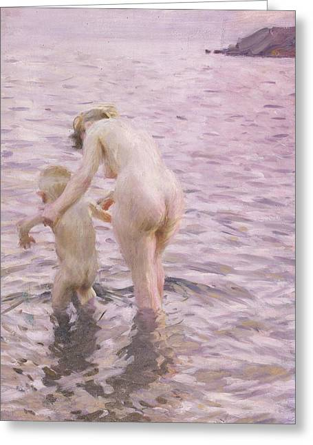 Maternal Greeting Cards - With Mother Greeting Card by Anders Leonard Zorn