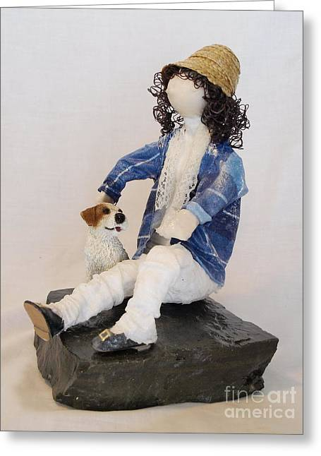 Black Man Sculptures Greeting Cards - With My Dog - 1st Photo Greeting Card by Vivian Martin