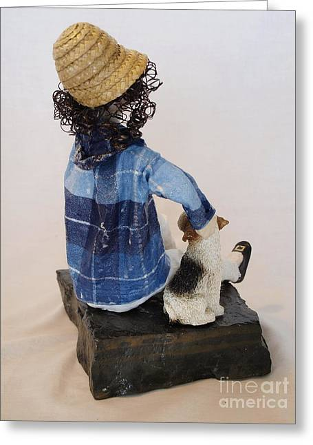 Stripes Sculptures Greeting Cards - With My Dog - 2nd Photo Greeting Card by Vivian Martin