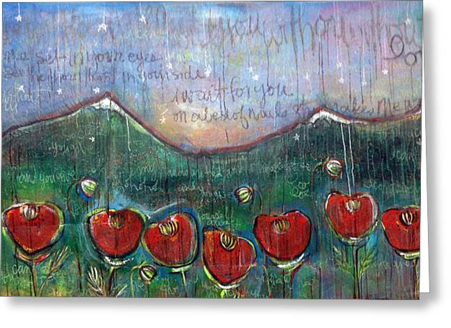 U2 Paintings Greeting Cards - With Or Without You Greeting Card by Laurie Maves Guglielmi