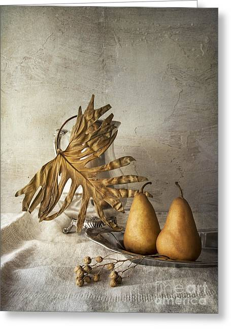 Still Life With Pitcher Greeting Cards - With pears Greeting Card by Elena Nosyreva