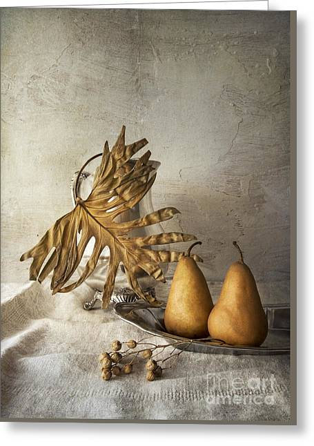 Silver Pitcher Greeting Cards - With pears Greeting Card by Elena Nosyreva