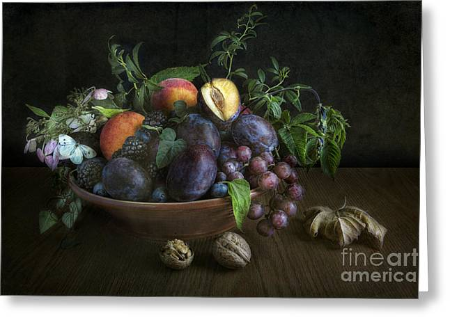Tabletop Greeting Cards - With plums Greeting Card by Elena Nosyreva