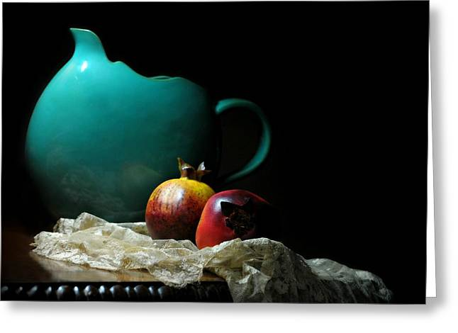 Still Life With Pitcher Greeting Cards - With Pomegranate Greeting Card by Diana Angstadt