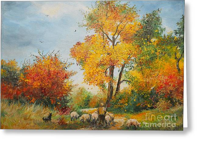 Landscape Framed Prints Greeting Cards - With Sheep on Pasture  Greeting Card by Sorin Apostolescu