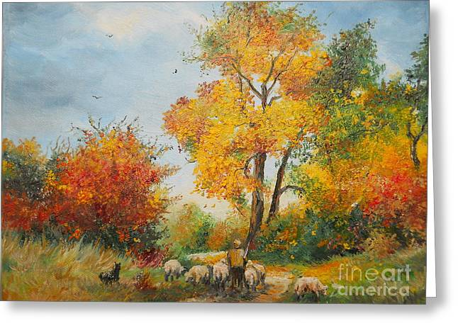 Landscape Posters Greeting Cards - With Sheep on Pasture  Greeting Card by Sorin Apostolescu