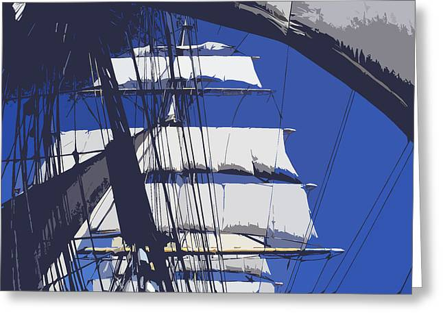 Tall Ships Mixed Media Greeting Cards - With the wind in her sails Greeting Card by Anthony Dalton