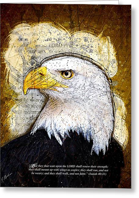 Bible Scripture Prints Greeting Cards - With Wings As Eagles Greeting Card by Gary Bodnar