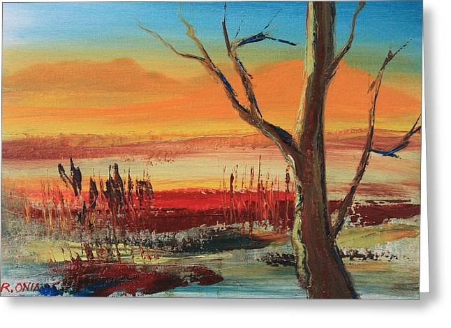 Amazing Sunset Paintings Greeting Cards - Withered Tree Greeting Card by Remegio Onia