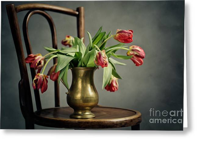 Sadness Greeting Cards - Withered Tulips Greeting Card by Nailia Schwarz