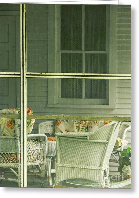 Wicker Furniture Greeting Cards - Within the Screened Porch Greeting Card by Margie Hurwich