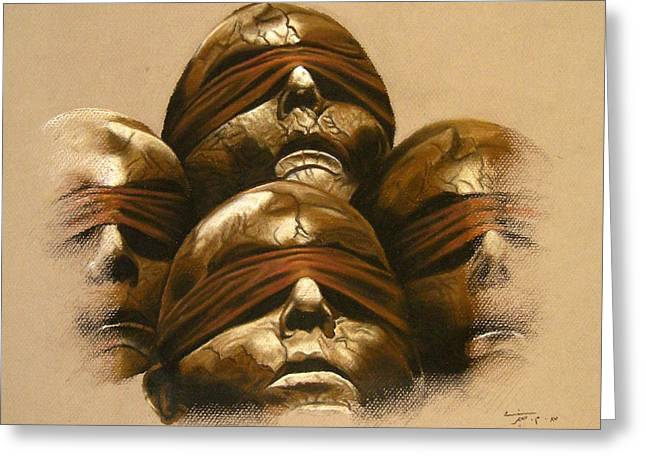 Warm Pastels Greeting Cards - Some Heads Greeting Card by Mojgan Jafari
