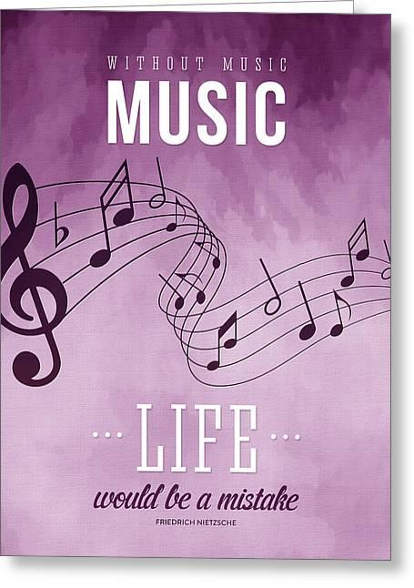 Playing Music Greeting Cards - Without music life would be a mistake Greeting Card by Aged Pixel