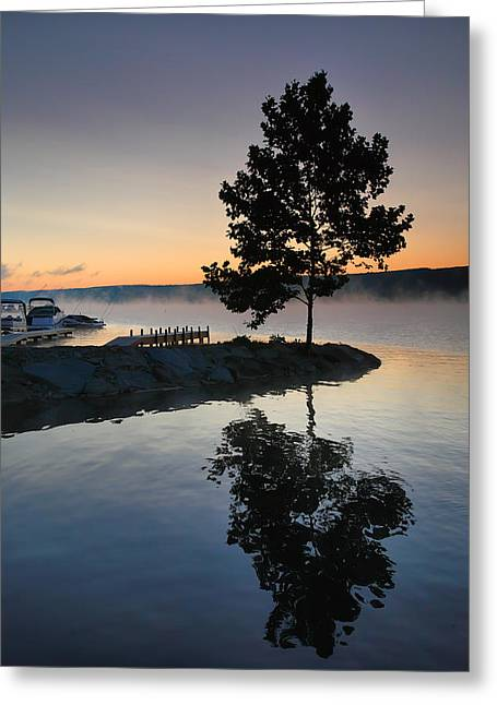 Finger Lakes Greeting Cards - Witness To The Dawn Greeting Card by Steven Ainsworth
