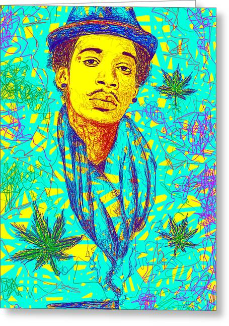 Drawings Of Wiz Khalifa Greeting Cards - Wiz Khalifa Drawing In Line Greeting Card by Kenal Louis