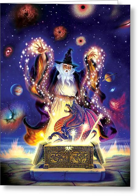 Wizard Greeting Cards - Wizard Dragon Spell Greeting Card by Andrew Farley