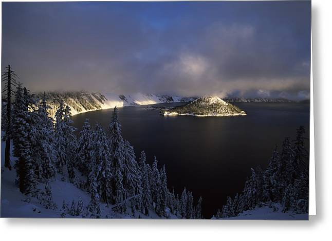 Crater Lake National Park Greeting Cards - Wizard Island At Crater Lake In Winter Greeting Card by Panoramic Images