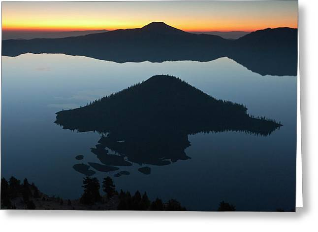 Wizard Island At Dawn, Crater Lake Greeting Card by William Sutton