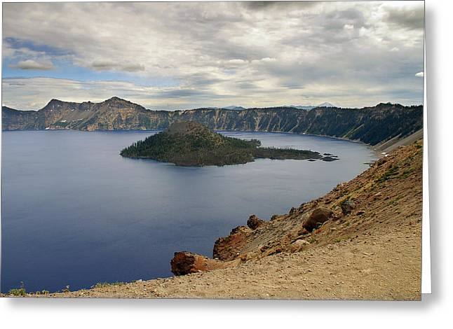 Enchanting Greeting Cards - Wizard Island - Crater Lake Oregon Greeting Card by Christine Till