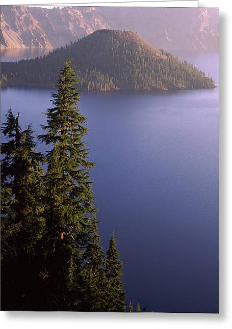 Crater Lake Greeting Cards - Wizard Island From Rim Village Greeting Card by Panoramic Images
