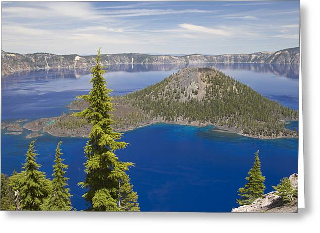 Mazama Greeting Cards - Wizard Island In Crater Lake Oregon Greeting Card by Bill Coster