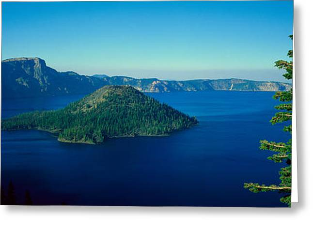 Crater Lake Panorama Greeting Cards - Wizard Island In Crater Lake, Oregon Greeting Card by Panoramic Images