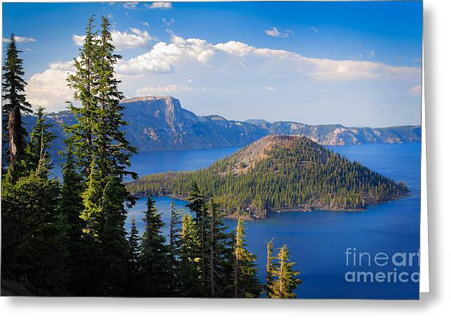 Crater Lake Greeting Cards - Wizard Island Greeting Card by Inge Johnsson
