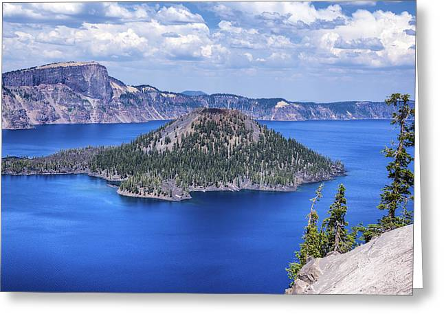 Crater Lake View Greeting Cards - Wizard Island Greeting Card by Joseph S Giacalone