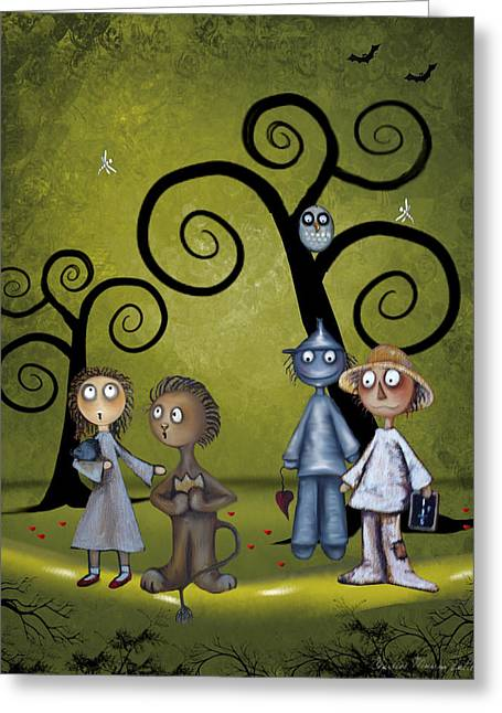 Haunted Forest Greeting Cards - Wizard of Oz Haunted Forest Greeting Card by Charlene Murray Zatloukal