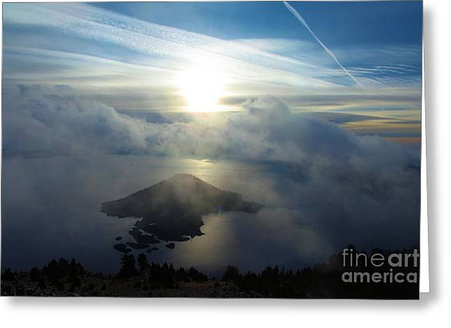 Crater Lake Sunset Greeting Cards - Wizard Sunburst Greeting Card by Adam Jewell