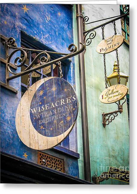 Store Fronts Greeting Cards - Wizarding Greeting Card by Perry Webster