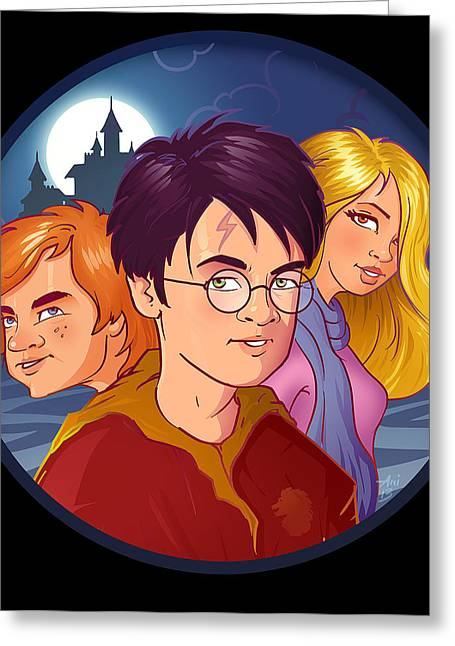 Hermione Granger Greeting Cards - Wizards Greeting Card by Aniruddha Lele