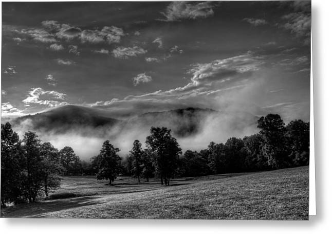 Western North Carolina Greeting Cards - WNC Morning in Black and White Greeting Card by Greg Mimbs