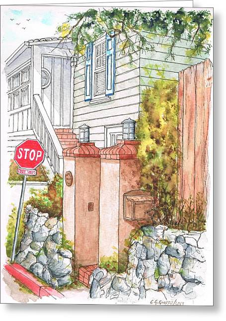 Pillar Box Greeting Cards - Two pillars and a mail box in Mt. Olympus - Hollywood Hills - California Greeting Card by Carlos G Groppa
