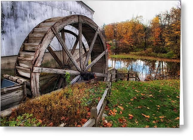 Mechanism Photographs Greeting Cards - Wolcott Mill Wheel Greeting Card by Ward McGinnis