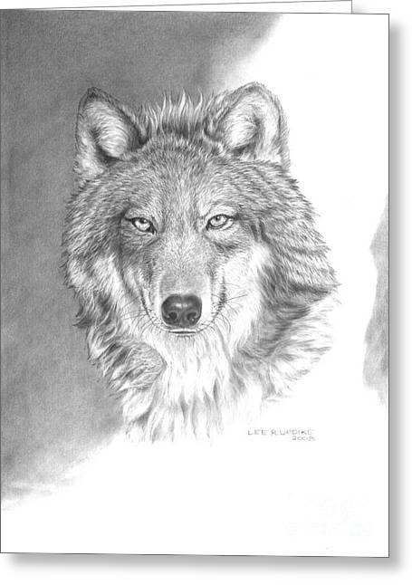 Wolf Portrait Greeting Cards - Wolf-3 Greeting Card by Lee Updike