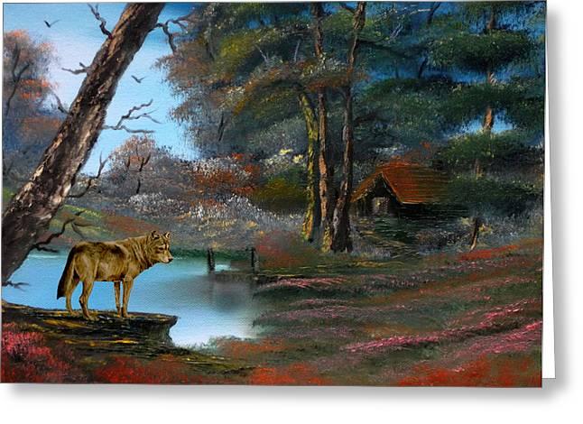 Merging Paintings Greeting Cards - Wolf Alert. Greeting Card by Cynthia Adams