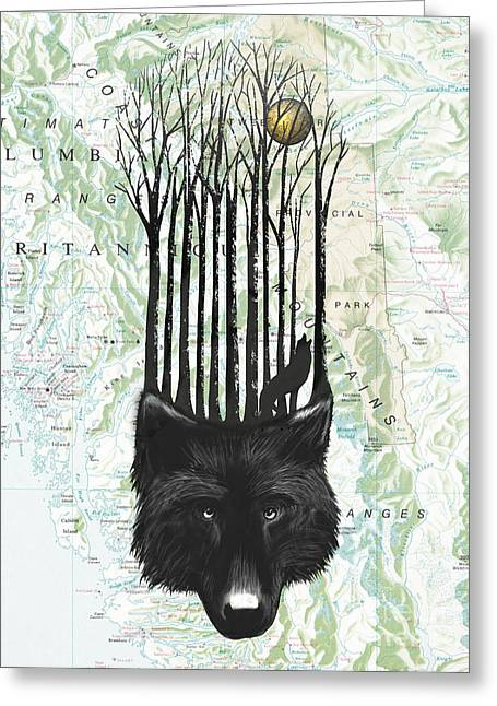 Howl Greeting Cards - Wolf Barcode Greeting Card by Sassan Filsoof