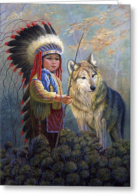 Snow Scenes Greeting Cards - Wolf Boy Greeting Card by Gregory Perillo
