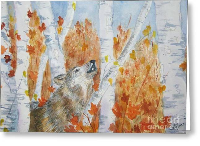 Forerst Greeting Cards - Wolf Call Greeting Card by Ellen Levinson