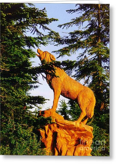 Wooden Sculpture Greeting Cards - Wolf Carving on Grouse Mountain Vancouver Greeting Card by John Malone Halifax Photographer