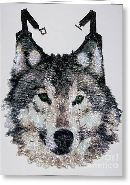 Dogs Jewelry Greeting Cards - Wolf  Greeting Card by Christy Nicholas