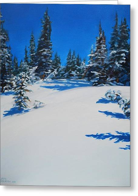 Wolf Creek Paintings Greeting Cards - Frozen Forest Greeting Card by Celeste Drewien