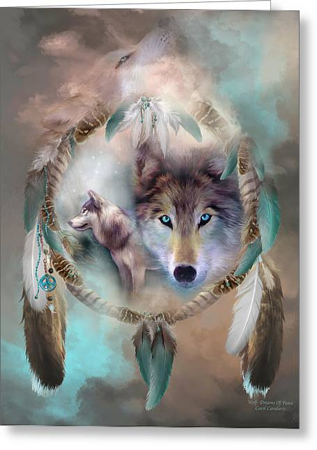 Spirit Catcher Greeting Cards - Wolf - Dreams Of Peace Greeting Card by Carol Cavalaris