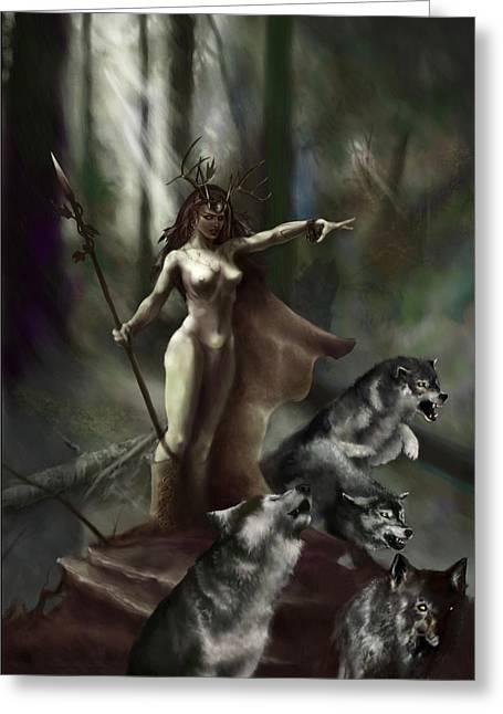 Wolf Woman Greeting Cards - Wolf Druid Greeting Card by Matt Kedzierski